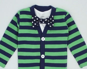 Cardigan Onesie and Bow Tie Set - Green with Navy Dot - Trendy Baby Boy