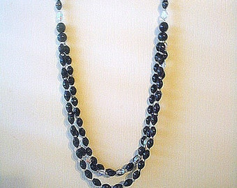 Long Triple Strand Necklace Black & Aurora Borealis Faceted Glass Beads 27 Inches