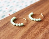 gold filled pale mint czech glass hoop earrings