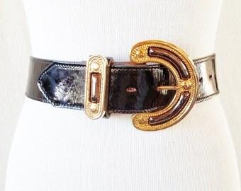 Vintage Catherine Dial Easley Black Leather Gold Buckle Belt
