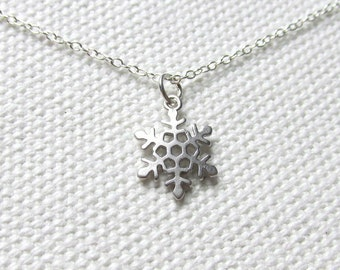 Tiny Snowflake Necklace, Sterling SIlver Chain, Dainty, Winter