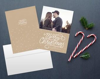Calligraphy Christmas card, photo card, photo christmas cards, custom christmas card, printable christmas cards, printable cards