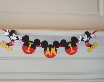 """High Chair Banner """"I AM 1""""  """"one"""" """"two"""" """"I AM 2""""  Mickey Mouse 1st Birthday by FeistyFarmersWife"""