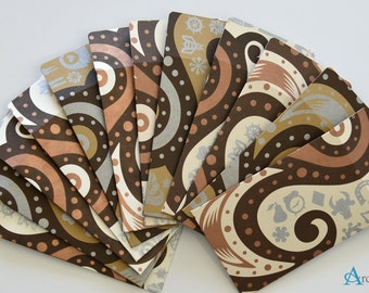 Gift Card Mini Envelopes (12 pcs) - gold, silver and copper abstract swirls and icons