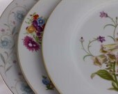 3 Mismatched Vintage Dinner Plates, English Garden, Noritake Canterbury, Blue White Purple Floral Plates Tea Party Decor Kongo China