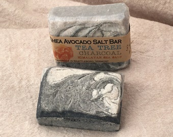 Cold Process Soap SHEA AVOCADO OLIVE Tea Tree Himalayan Pink Sea Salt Charcoal Spa Detox Bar All Natural Made in Vermont