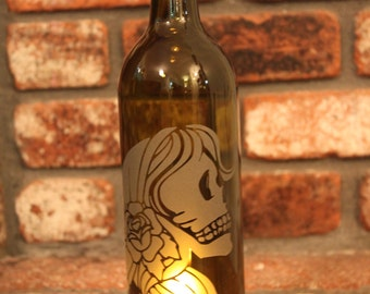 Dia De Los Muertos Gypsy Girl Wine Bottle Lantern (Stand & Candle Included) Travel, Wander, Day of the Dead Wedding Decor, Luminaries