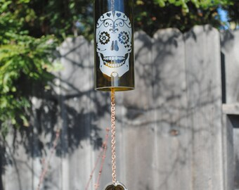 Heart Sugar Skull Wine Bottle Wind Chime - Windcatcher Upcycled Recycled Repurposed Wine Glass Bottles Personalized Garden Art Wine Wedding