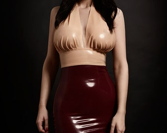 Latex Gathered Halterneck Crop Top