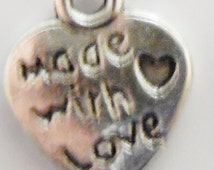 50pcs Made With Love Heart Charms ANTIQUE Silver,BRIGHT Silver, Bronze or Gold SMALL 10x12mm Lead/Nickel Free Diy Free Combined Shipping
