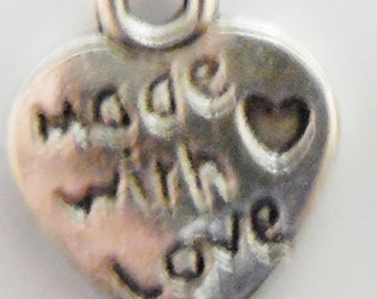 100pcs Heart Charms Made With Love SMALL ANTIQUE Silver,BRIGHT Silver,Bronze,Gold 10x12mm Lead/Nickel Free Diy