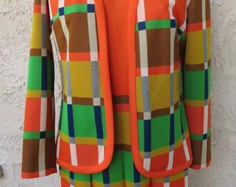 Vintage 1970's orange/green/brown plaid jacket s/s dress 2 piece set suit mod Brady Bunch
