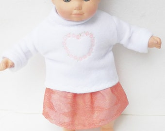 """Bitty Baby  Clothes doll Girl 15"""" or twin, white embroidered heart fleece sweatshirt, skirt, spring, handmade adorabledolldesigns set"""