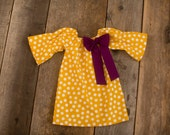Mustard Yellow Polka Dot Plum Bow Three Quarter Long Sleeve Peasant Dress - Baby Toddler Girl