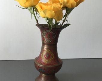 vintage painted brass bud vase boho
