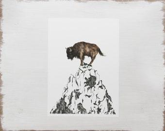 Buffalo Mountain Print -- Ink and Watercolour Mountain Drawing // Buffalo Illustration // Limited Edition Mountain Art