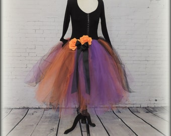 Adult tutu dress halloween costume witch costume purple orange black tulle dress witch dress zombie dress spirit dress costume