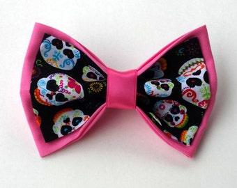 Sugar Skull Hair Bow - Sugar Skull Bow - Sugar Skull Wedding - Sugar Skull Birthday Party - Sugar Skull Accessory