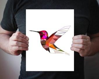 Hummingbird, Hummingbird Print, Tropical Wall Art, Bird art Bird print, Bird Poster, home Decor, Art Print, Geometric
