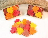Leaf Shaped Candle Tarts, Fall Decoration, Fall Wax Melts, Leaves Scented in Autumn Woods or November Rain, Halloween Decorations