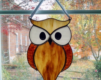 Stained Glass Owl Suncatcher - Bird - Horned Owl - Gardener Gift - Owl Ornament - Brown Owl - Nature Decor - Housewarming Gift - Garden Art