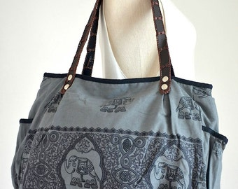 Women Bag Boho Chic Bag in Gray Tribal Ethnic Gypsy Tote Bag Elephant Purse Cotton Handbags Diaper Bag Hippie Shoulder Bag Shopper Bag