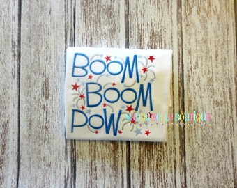 Boom, Boom, Pow Embroidered Shirt - Embroidered, Personalized, Monogram, Boom Boom Pow, Fireworks, Boys or Girls, Summer, 4th of July