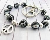 Keychain Bracelet, Peace Keychain, Wristlet Keychain, Wristlet Key Fob, Wrist Lanyard, Beaded Wristlet, Keychain Wristlet
