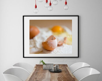 Eggs photography, food photography, kitchen wall decor, rustic kitchen decor, cottage chic decor, home decor, mother gift, oeufs farine