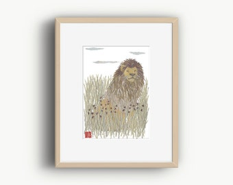 Lion Wall Art, Lion Artwork, Wildlife Art, African Animal Art, Ready to Frame