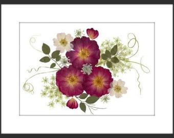 Pressed Flower Print - 3 Roses - 8x10
