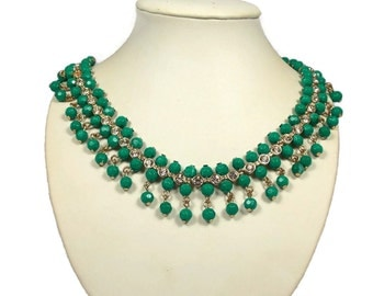 Green Beaded Fringe Collar Necklace Clear Rhinestone Accents Marked