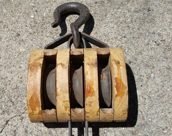 Vintage Triple Block and Tackle Wooden and Cast Iron Pulley Madesco Products Easton Pa. Architectural Salvage Industrial Decor