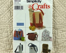 Bag Pattern, Simplicity 9658 Crafts, FREE SHIP, Utility, Pajama Tote Cell Phone Wine Bottle, 2001 Uncut