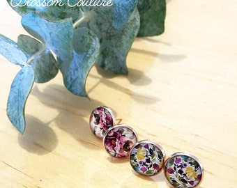 Rose Gold Floral Resin Post  Earrings