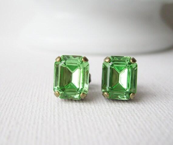 Light Green Post Earrings, Peridot Rhinestone Studs, Woodland Wedding Jewellery, Spring Green, Vintage Swarovski Elements, Antique Brass