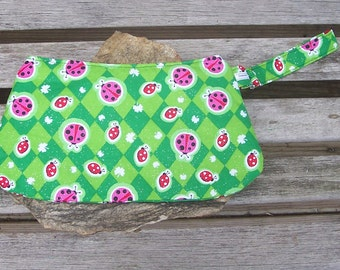 Lady Bug Wristlet - Clutch Handbag Purse - Ladybug Ladybird - Shamrock Four Leaf Clover - Swoon Coraline