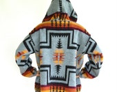 Vintage TEJIDOS RUMINAHUA Wool Jacket // Native Design // Zip Up // Hood / Large