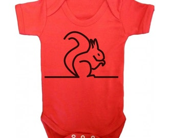 Squirrel baby bodysuit, chip munk babygrow, unisex baby clothes, baby girl body, red infant vest
