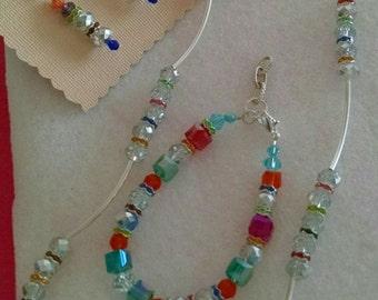 SWAROVSKI EVERYWHERE.  Necklace, Bracelet, and Earring Set.  Rhinestones Galore. Valentine's Day  Birthday, Anniversary, Easter, Mother's
