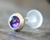 3mm Amethyst Tragus Stud, Helix, Labret, Push Fit Cabochon, 18g or 16g, Cartilage Earring, Gemstone Piercing Jewelry, February Birthstone