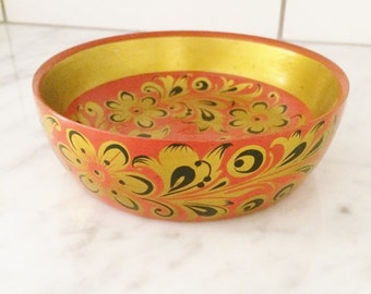 Vintage Russian Bowl, Hand Painted Khokhloma Bowl, Gold Decor, USSR