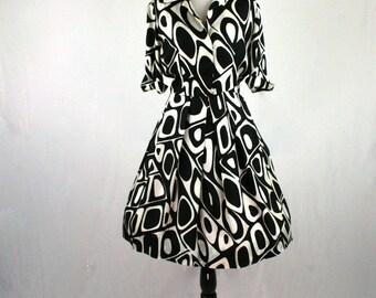 1960s Mod Optic Black White Print Silk Shirtwaist Dress Full Skirt