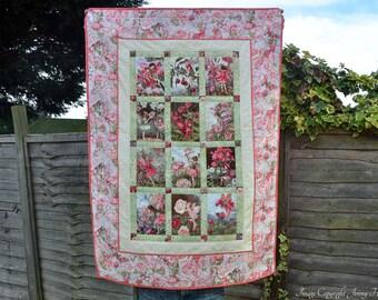 Flower Fairy quilt, pink fairy quilt, girls quilt, pink quilt, new baby gift, fairy blanket, fairy bedding, fairy decor, flower fairies UK