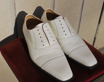 White Patent Leather Cap Toe Shoes, Swing