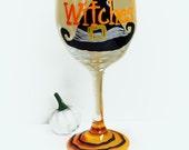 Halloween wine glass- halloween- wine glass - halloween decor- witch wine glass- halloween party glass-Sale
