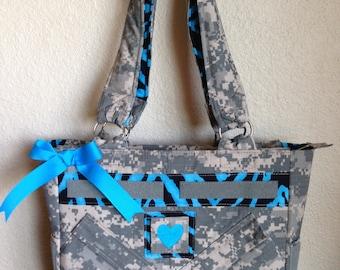 ACU medium purse with blue zebra print