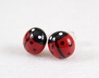 Lucky Ladybug Earrings - Handcrafted Polymer Clay Post Earrings - Ladybug Stud Earrings - Silver Plated, Nickel Free, Lead Free Posts