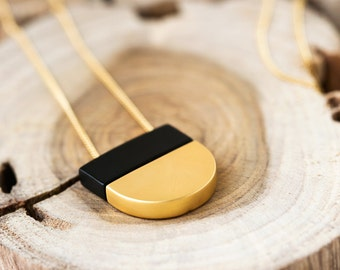 Matte Gold Necklace, Gold And Black Necklace, Long Necklace Gold, Thin Gold Chain Necklace, Black Pendant Necklace, Matte Black LN125K