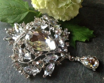 Extra Large Silver Rhinestone Drop Brooch Flat Back Embellishment Pin Clear Crystal Broach Dangling Wedding Brooch Bouquet Silver Pin sc12